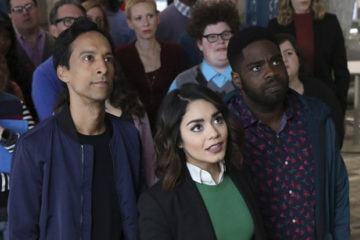 """POWERLESS -- """"Wayne or Lose"""" Episode 102 -- Pictured: (l-r) Danny Pudi as Teddy, Vanessa Hudgens as Emily, Ron Funches as Ron -- (Photo by: Evans Vestal Ward/NBC)"""